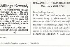 1784 Runaway Notice Bemjamin Griffen pursues James