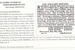 1808 Runaway Notice Jane Merrill pursues Harry also known as Tudor
