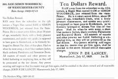 1809 Runaway Notice DeLancey pursues Sam Woodbeck